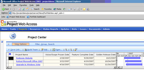 Rollup…Rollup Milestone Dates to the Project Center